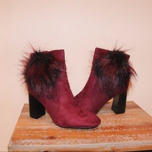 Cape Robbin fur burgundy booties